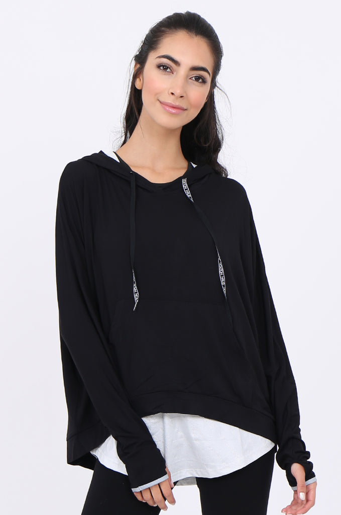 SWS1948-BLACK HOODED POCKET ACTIVE TOP