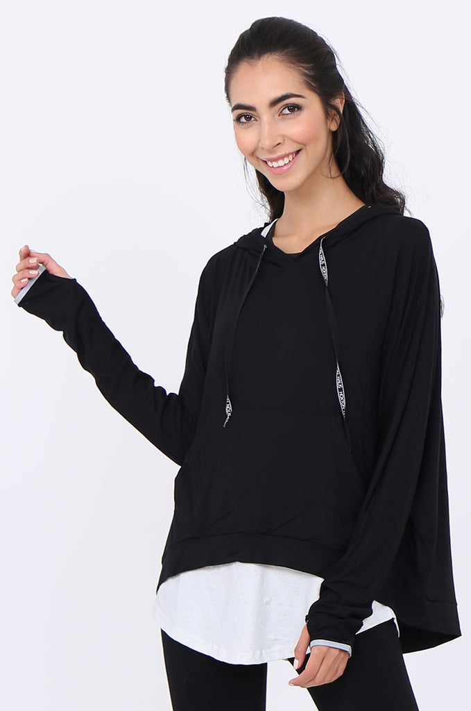 SWS1948-BLACK HOODED POCKET ACTIVE TOP view 2
