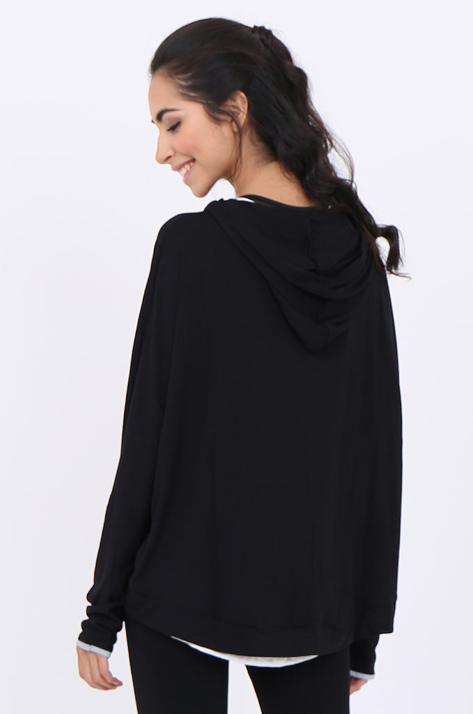 SWS1948-BLACK HOODED POCKET ACTIVE TOP view 3