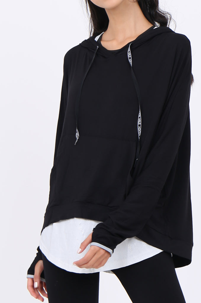 SWS1948-BLACK HOODED POCKET ACTIVE TOP view 5