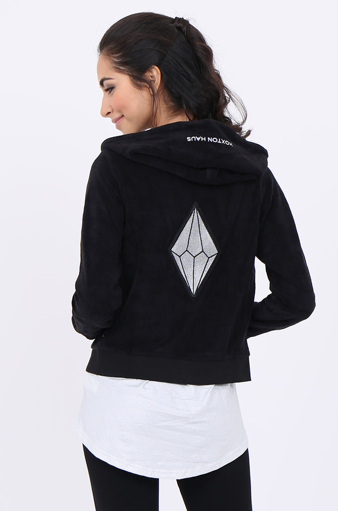 SWS1950-BLACK TOWELLING EMBROIDERED BACK ACTIVE HOODIE