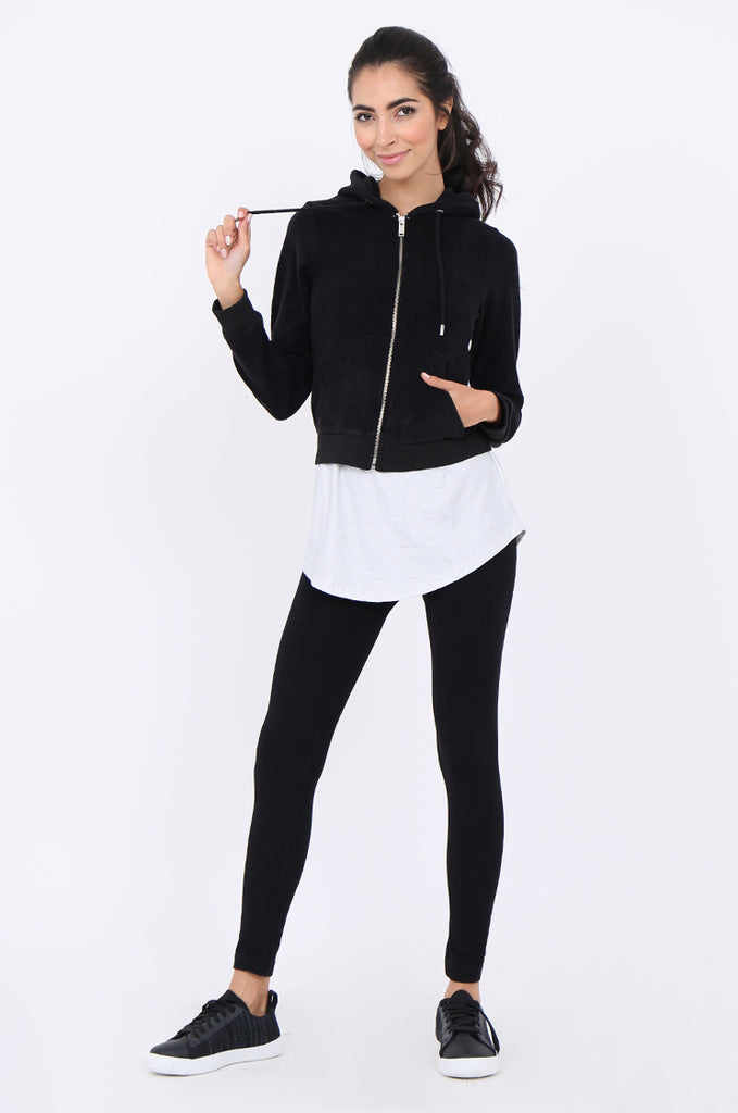 SWS1950-BLACK TOWELLING EMBROIDERED BACK ACTIVE HOODIE view 4