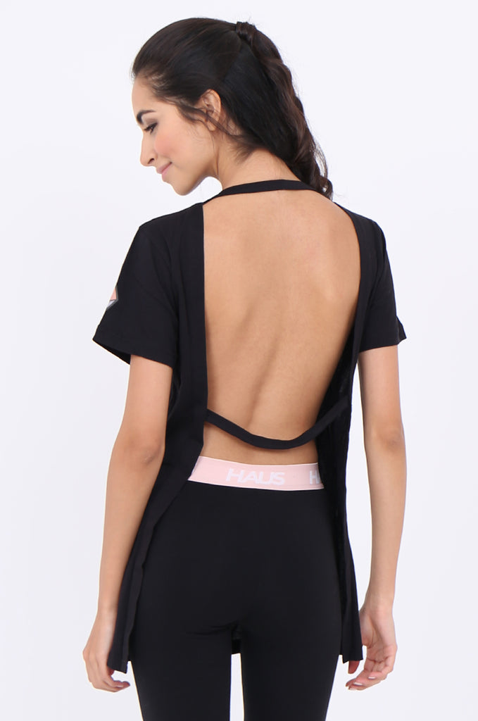 SWS1951-BLACK PRINTED BACKLESS ACTIVE T-SHIRT view 3