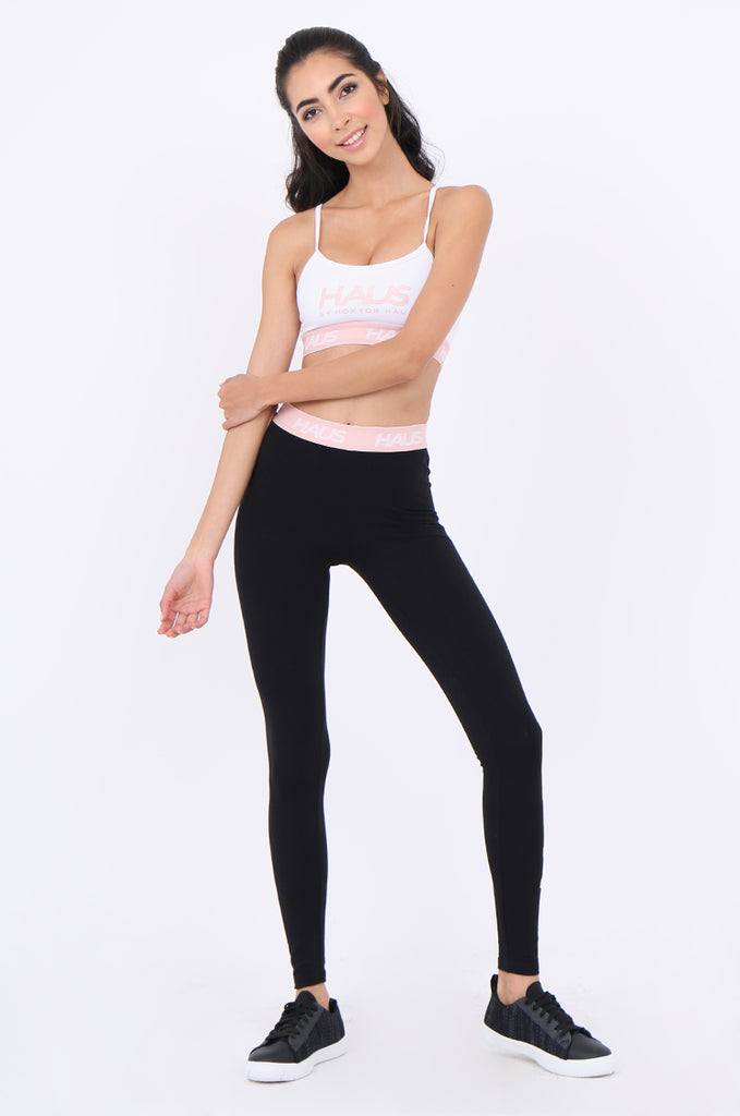 SWS1952-BLACK CONTRAST WAISTBAND ACTIVE LEGGINGS