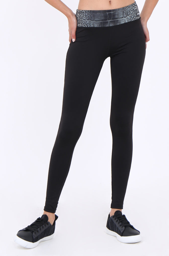 SWS1953-BLACK SNAKE PRINT WAISTBAND ACTIVE LEGGINGS view 4