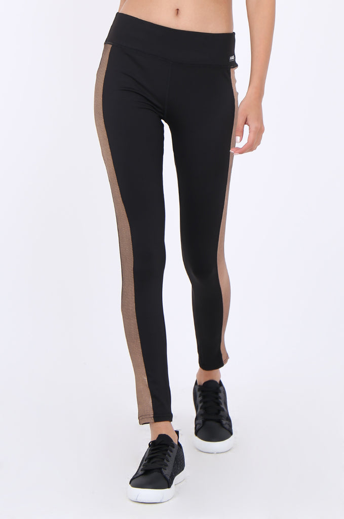 SWS1956-BLACK METALLIC SIDE STRIPE ACTIVE LEGGINGS view 5