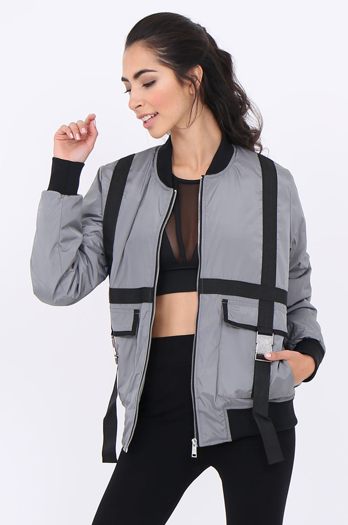 SWS1959-GREY TAPE DETAIL ACTIVE BOMBER JACKET view main view