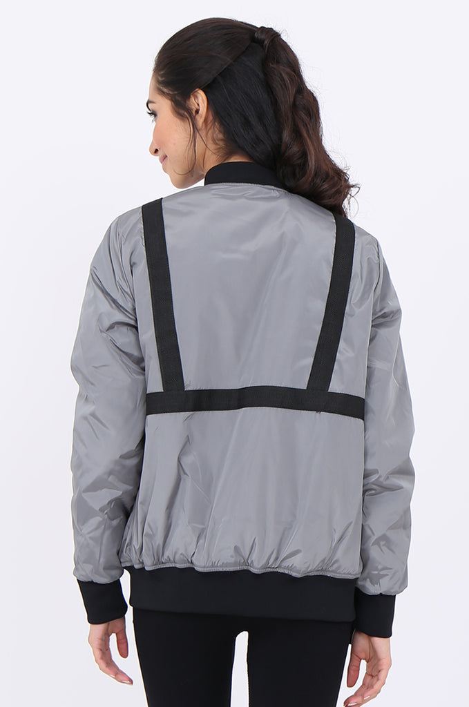 SWS1959-GREY TAPE DETAIL ACTIVE BOMBER JACKET view 3