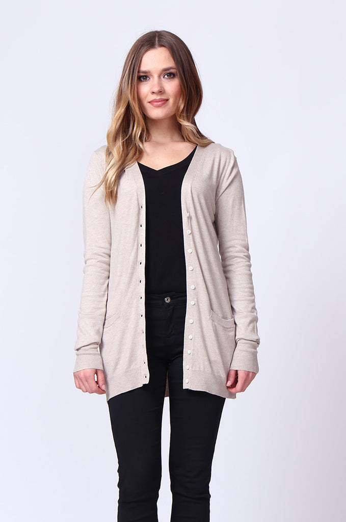 SF0159-STONE LONG LINE POCKET CARDIGAN