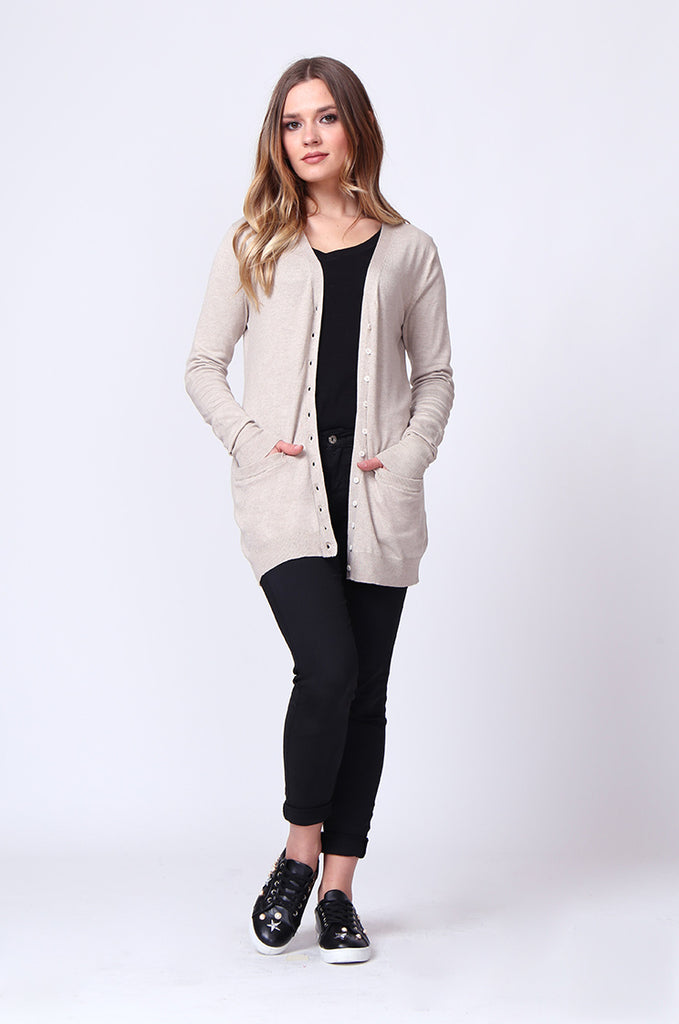 SF0159-STONE LONG LINE POCKET CARDIGAN view 4