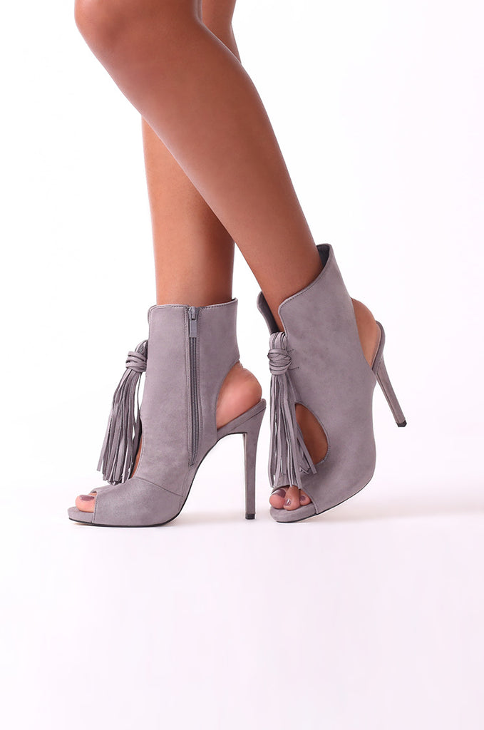SCM0075-GREY SUEDE TASSEL PEEP TOE ANKLE BOOTS view main view
