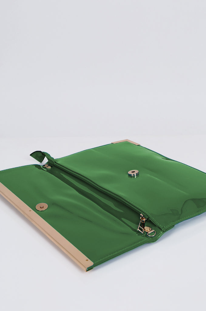 SMB1968-GREEN PATENT SQUARE ENVELOPE CLUTCH BAG view 3