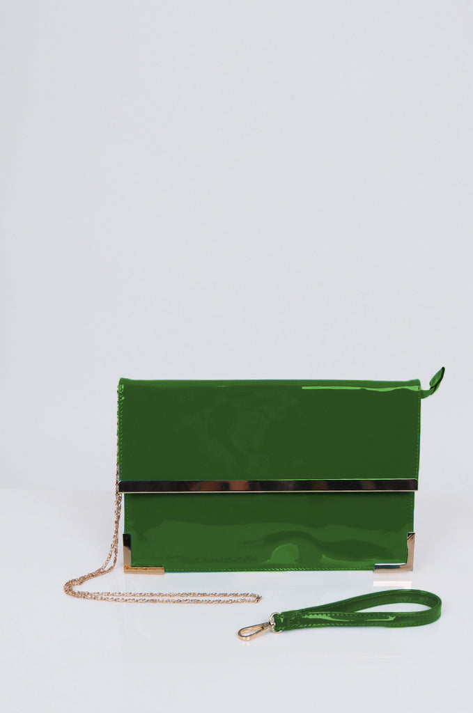 SMB1968-GREEN PATENT SQUARE ENVELOPE CLUTCH BAG