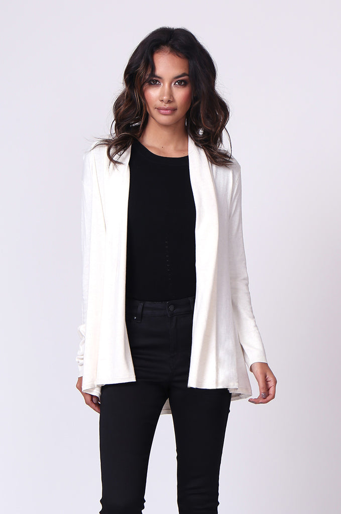 SF0097-CREAM LONG SLEEVE ROLL EDGE CARDIGAN TOP