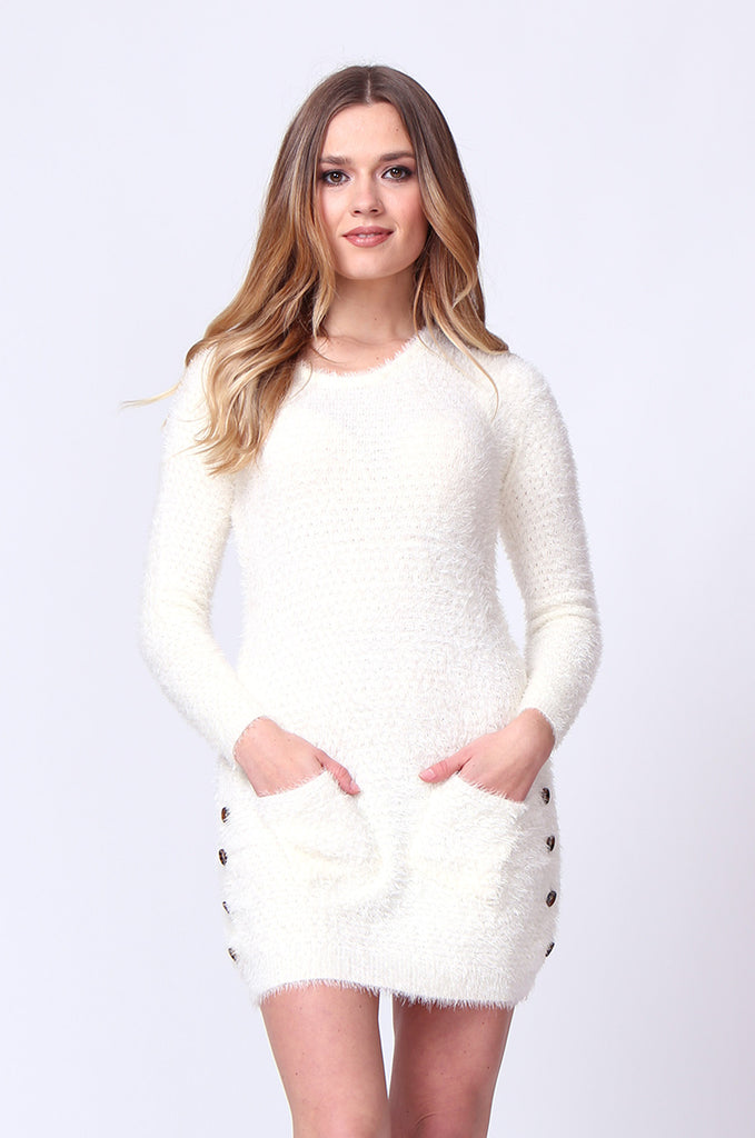 SMT0183-CREAM LONG SLEEVE FLUFFY MINI DRESS view main view