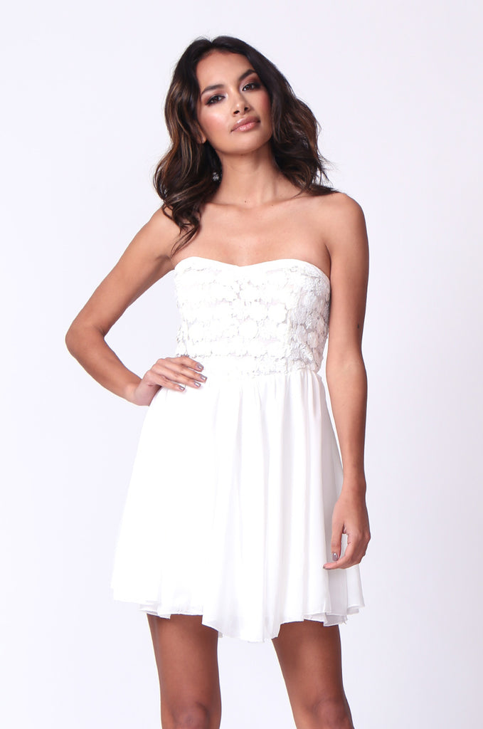 SP0118-WHITE SEQUINNED BUSTIER MINI DRESS view main view