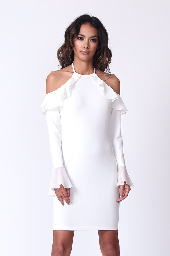 SPF0259-CREAM TIE NECK RUFFLE MINI DRESS view main view