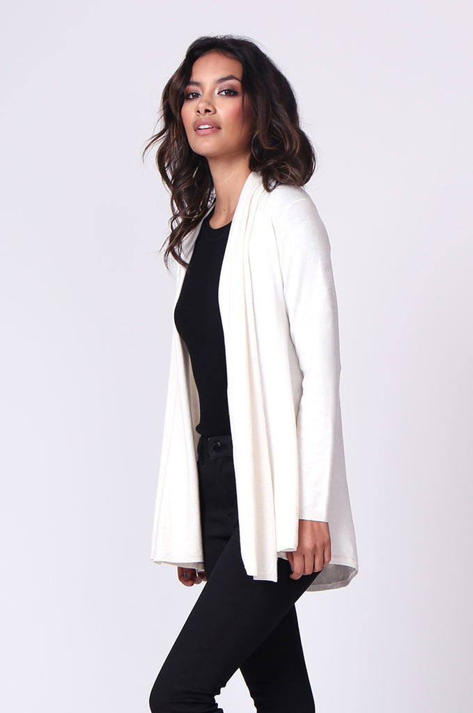 SF0097-CREAM LONG SLEEVE ROLL EDGE CARDIGAN TOP view 2