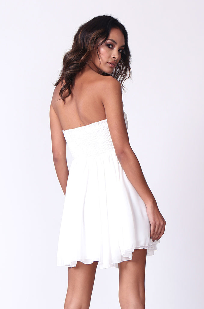 SP0118-WHITE SEQUINNED BUSTIER MINI DRESS view 3