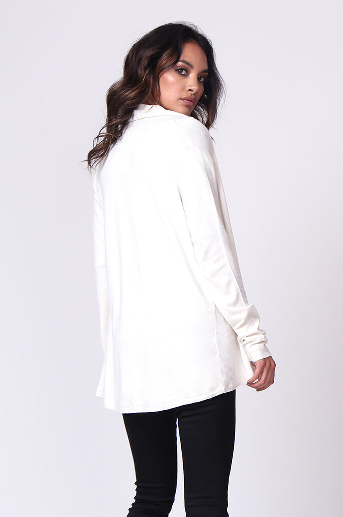 SF0097-CREAM LONG SLEEVE ROLL EDGE CARDIGAN TOP view 3
