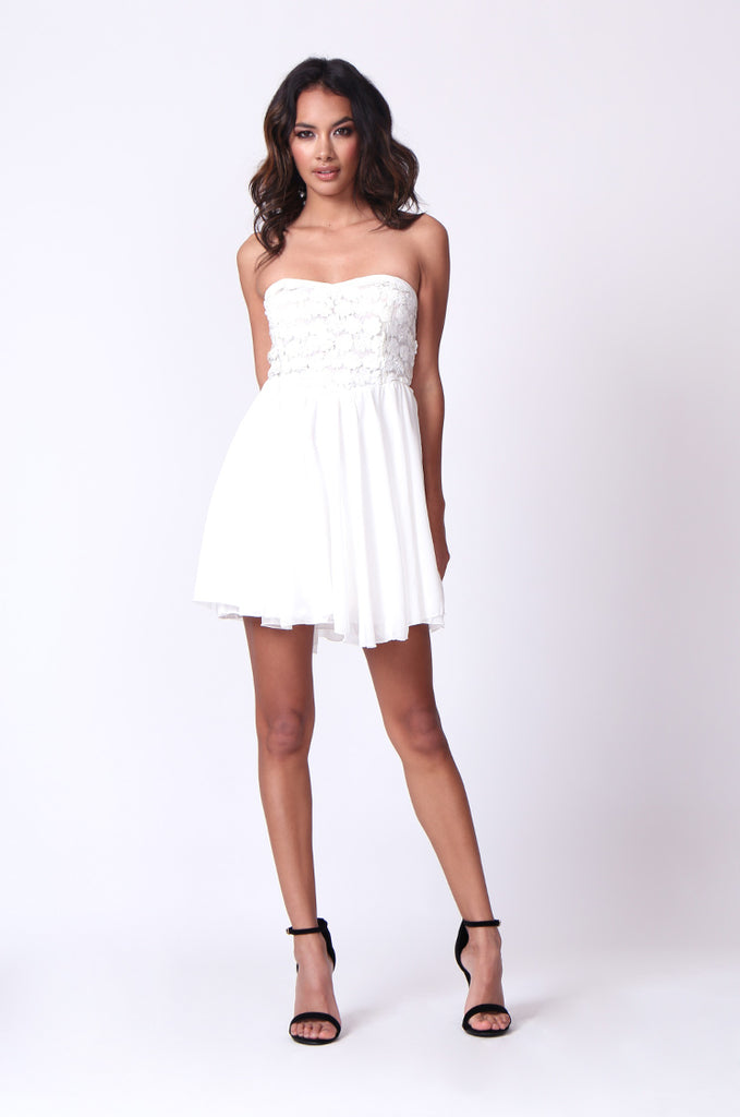 SP0118-WHITE SEQUINNED BUSTIER MINI DRESS view 4