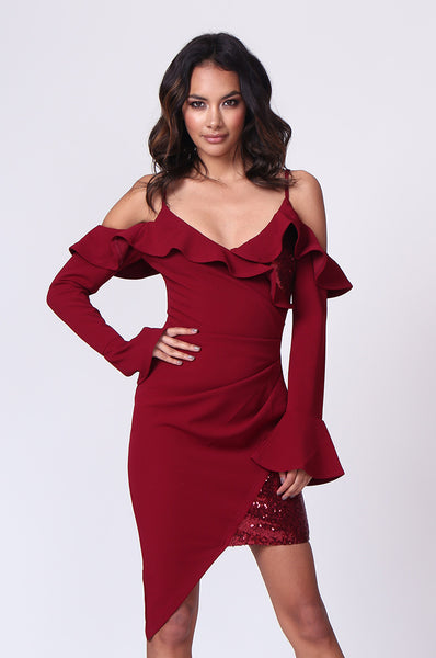 RUFFLE ASYMMETRIC SEQUIN MINI DRESS