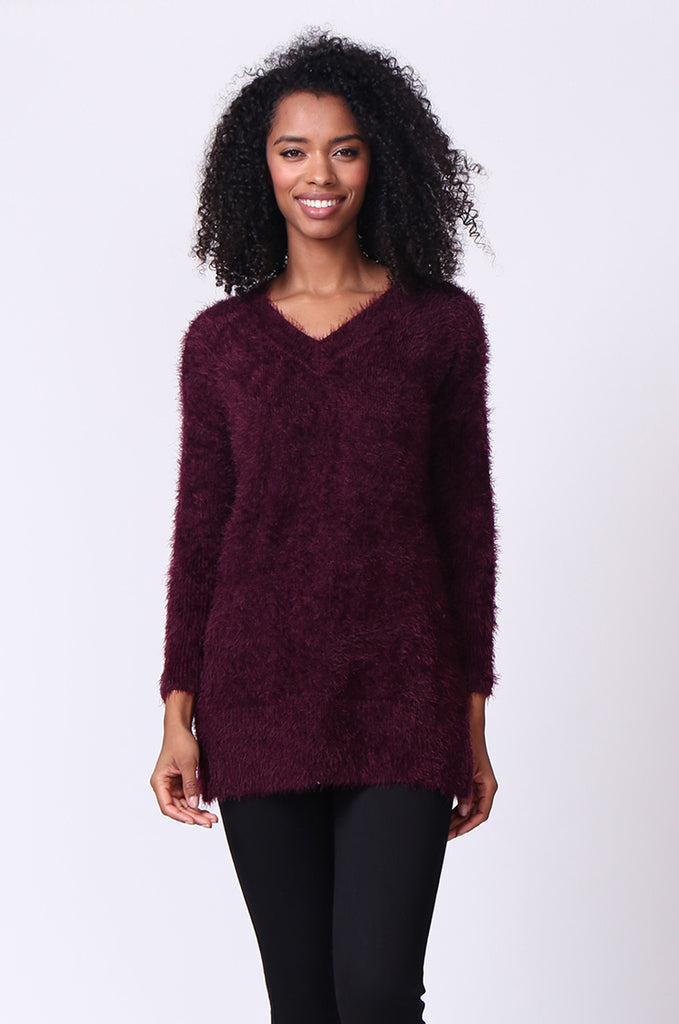 SF0239-PURPLE V-NECK FLUFFY OVERSIZED JUMPER view main view