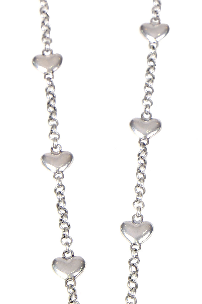 SS0254-SILVER HEART CHAIN NECKLACE