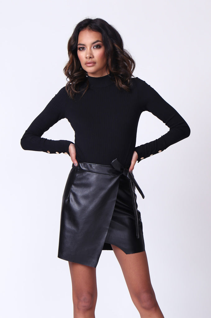 SPF0271-BLACK LEATHERETTE WRAP TIE MINI SKIRT