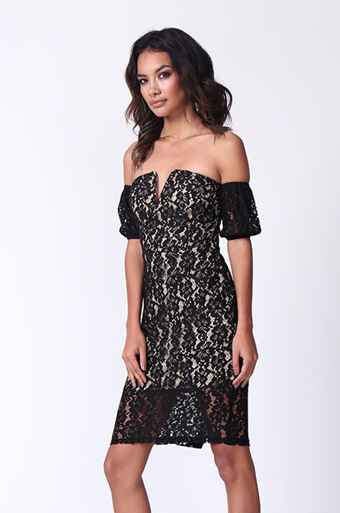 SPF0276-BLACK LACE OVERLAY COLD SHOULDER MINI DRESS view 3