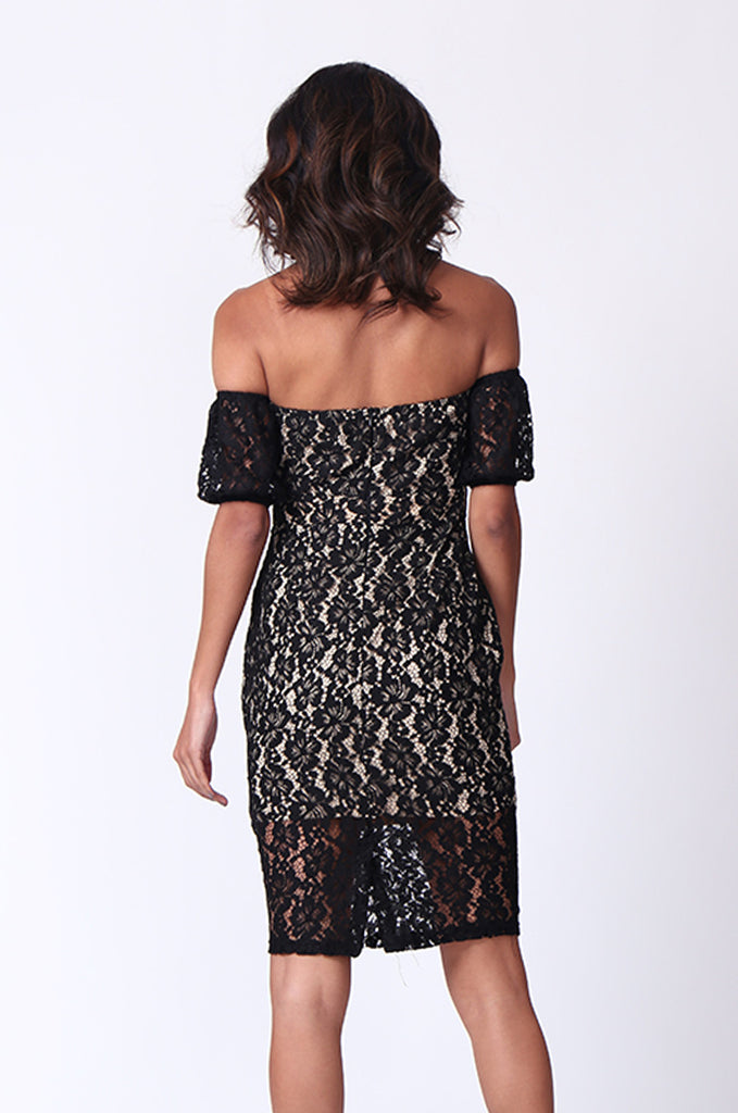 SPF0276-BLACK LACE OVERLAY COLD SHOULDER MINI DRESS view 4