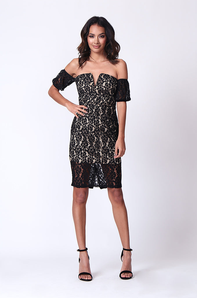 SPF0276-BLACK LACE OVERLAY COLD SHOULDER MINI DRESS view main view