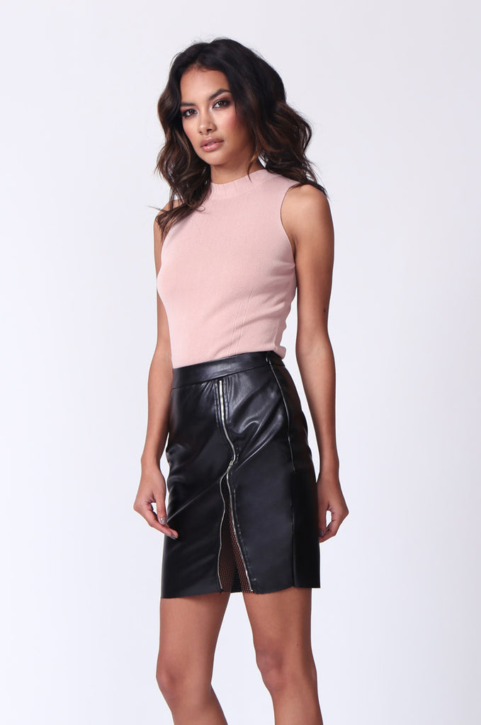 SPF0272-BLACK ZIP FRONT LEATHERETTE MINI SKIRT view 2