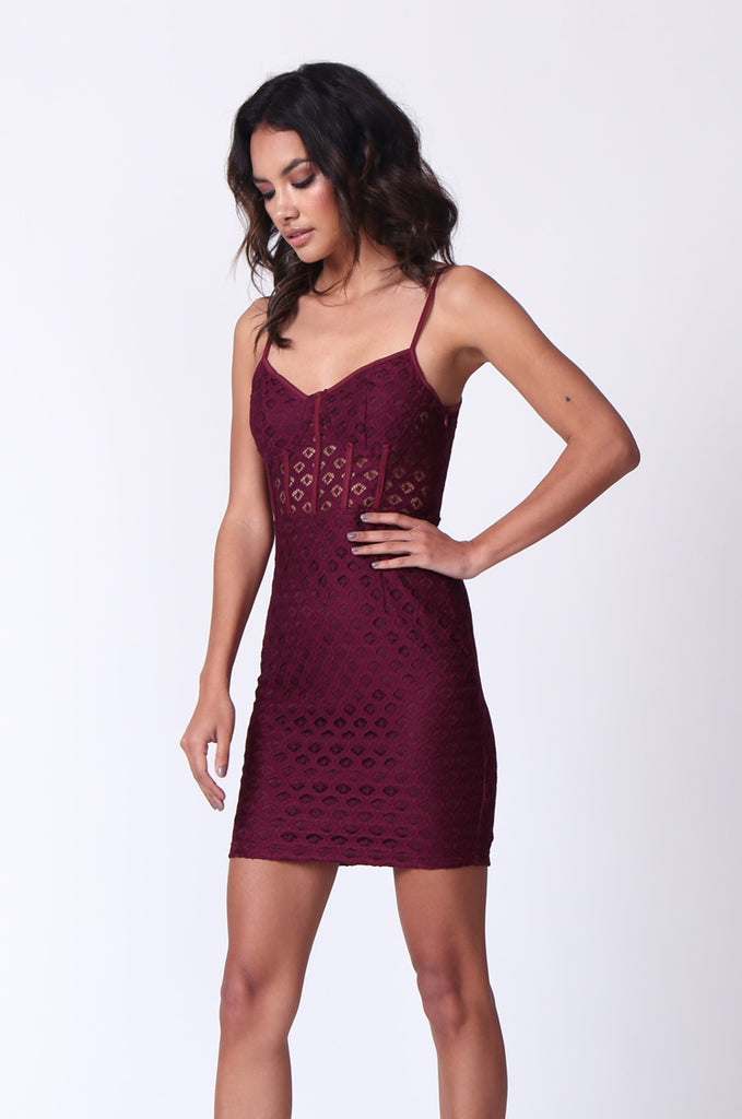 SPF0274-WINE STRAPPY PEEK A BOO MINI DRESS view 2