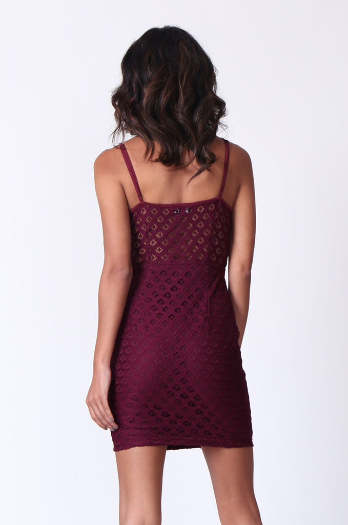 SPF0274-WINE STRAPPY PEEK A BOO MINI DRESS view 3