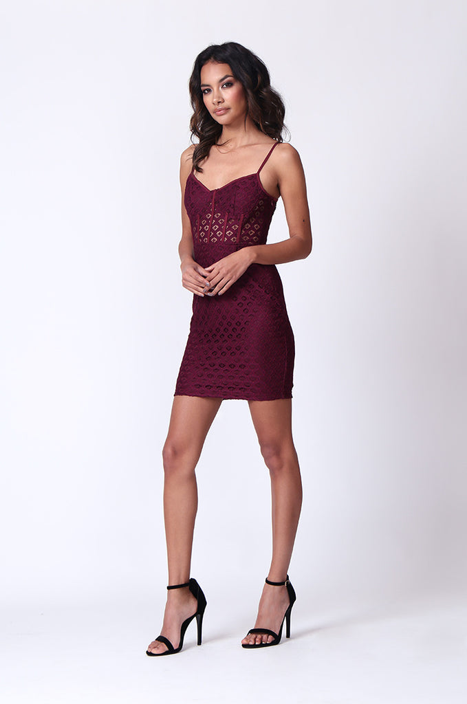 SPF0274-WINE STRAPPY PEEK A BOO MINI DRESS view 4