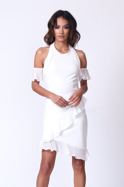 RUFFLE HALTER NECK MINI DRESS