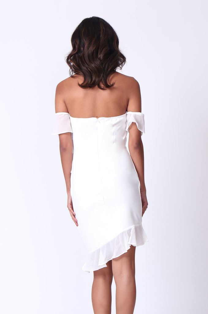 SPF0279-CREAM RUFFLE HALTER NECK MINI DRESS view 4