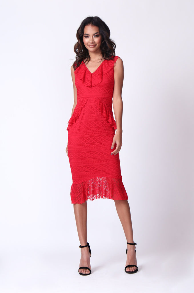 SPF0281-RED LACE RUFFLE V-NECK MIDI DRESS view main view