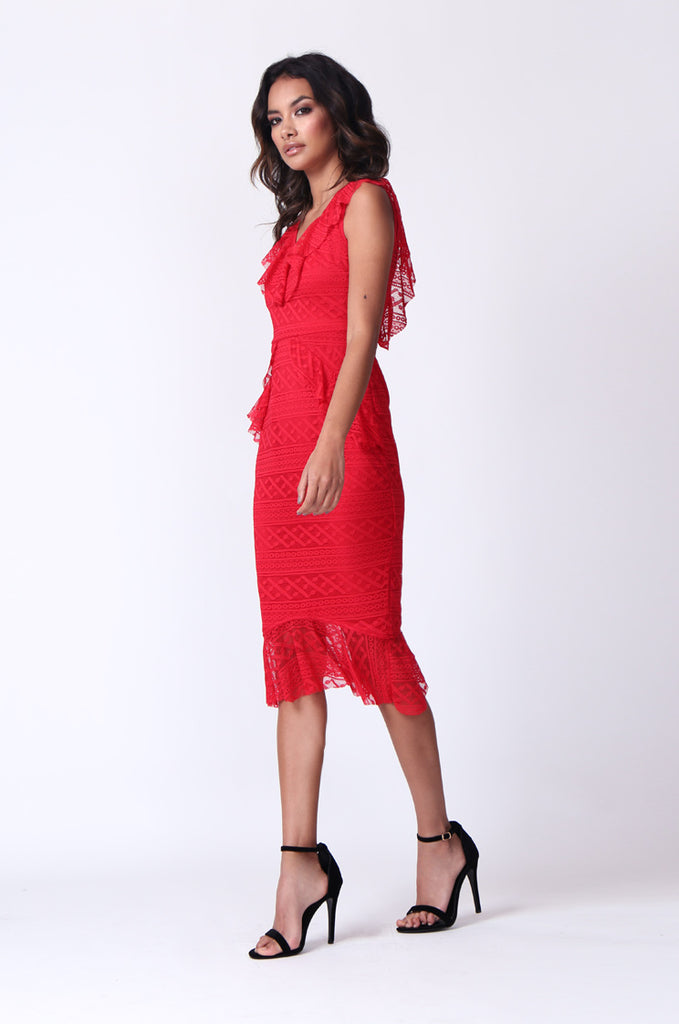 SPF0281-RED LACE RUFFLE V-NECK MIDI DRESS view 2
