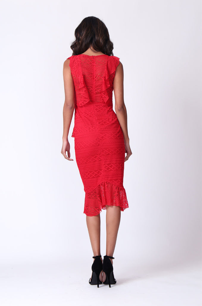 SPF0281-RED LACE RUFFLE V-NECK MIDI DRESS view 3