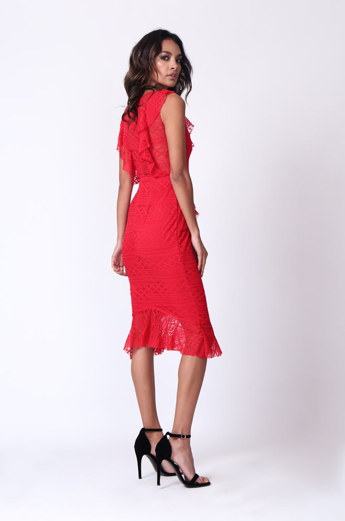SPF0281-RED LACE RUFFLE V-NECK MIDI DRESS view 4