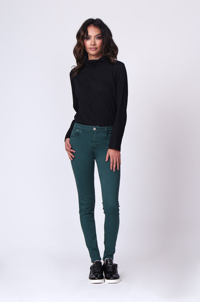 SF0027-GREEN TWIL SKINNY JEANS view main view