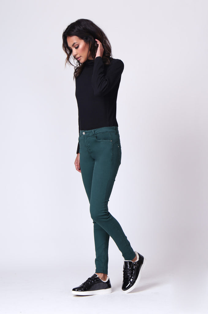 SF0027-GREEN TWIL SKINNY JEANS view 2