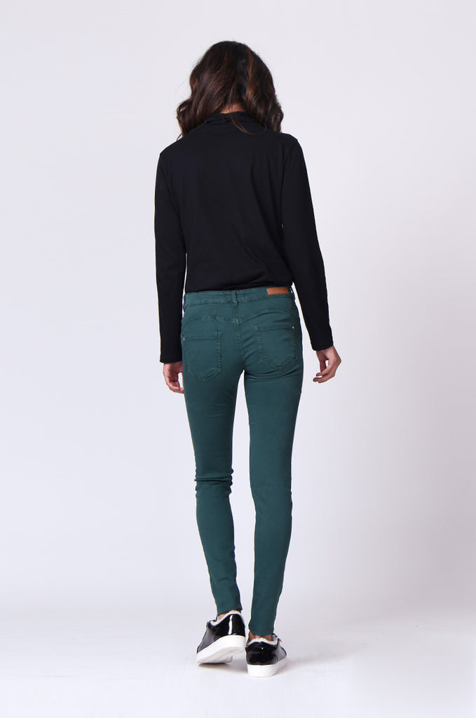 SF0027-GREEN TWIL SKINNY JEANS view 3