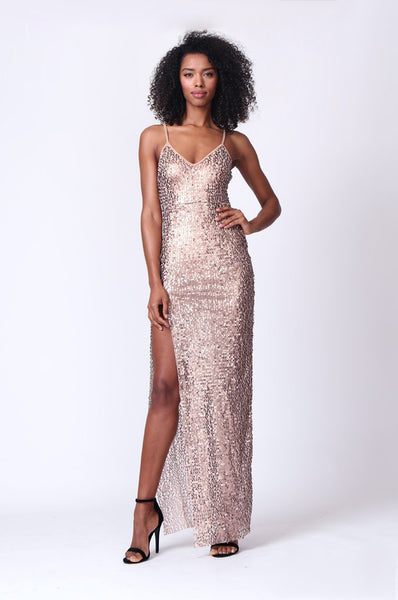 STRAPPY SEQUIN MAXI DRESS