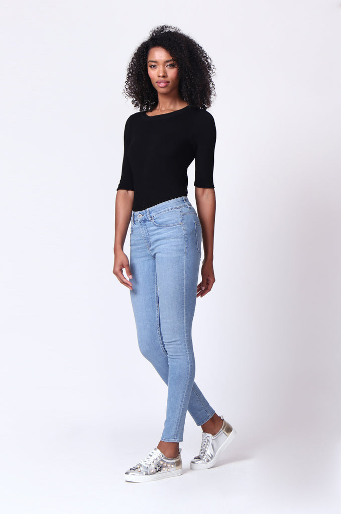 SF0161-LIGHT BLUE BASIC SKINNY JEAN view 2