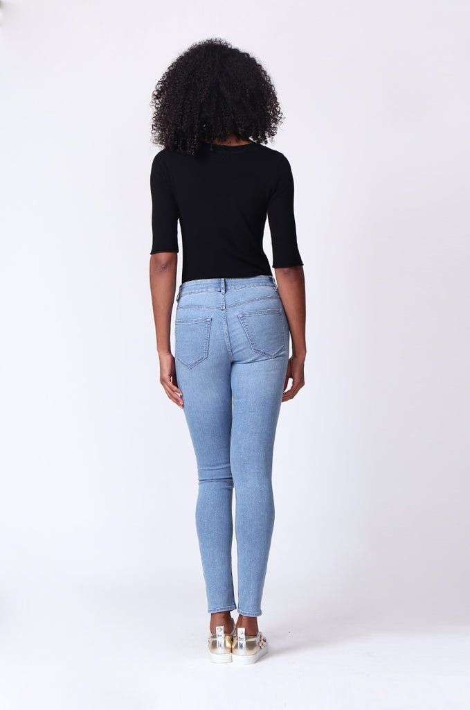 SF0161-LIGHT BLUE BASIC SKINNY JEAN view 3