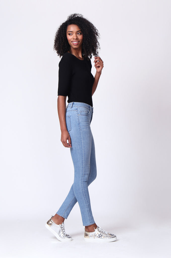 SF0161-LIGHT BLUE BASIC SKINNY JEAN view 4