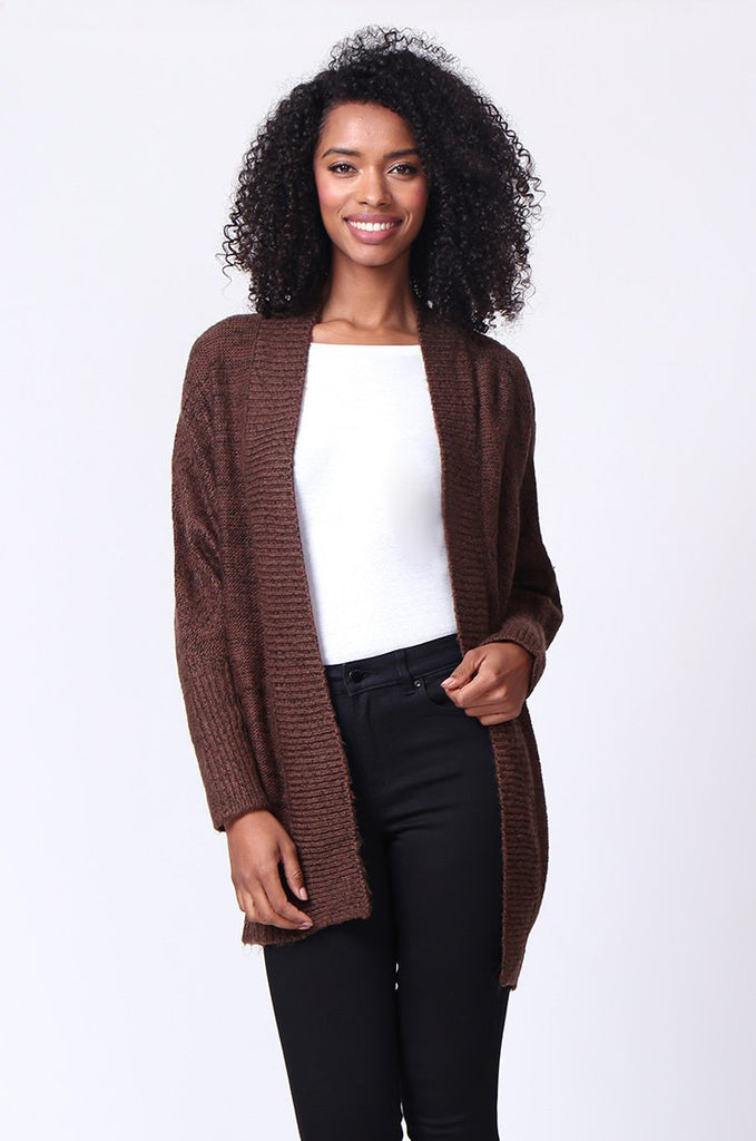 SF0236-BROWN CABLE KNIT BATWING CARDIGAN